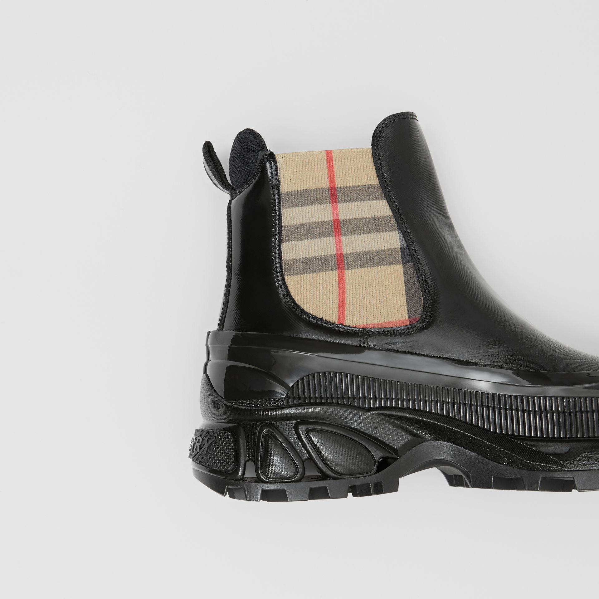 Vintage Check Detail Coated Canvas Chelsea Boots in Black/archive Beige - Women | Burberry Canada - gallery image 1