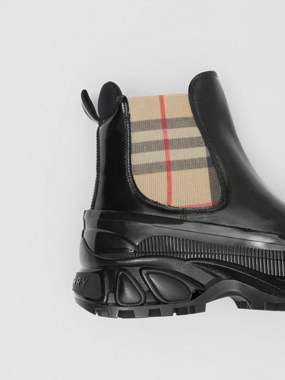 Vintage Check Detail Coated Canvas Chelsea Boots in Black/archive Beige - Women | Burberry Canada - cell image 1