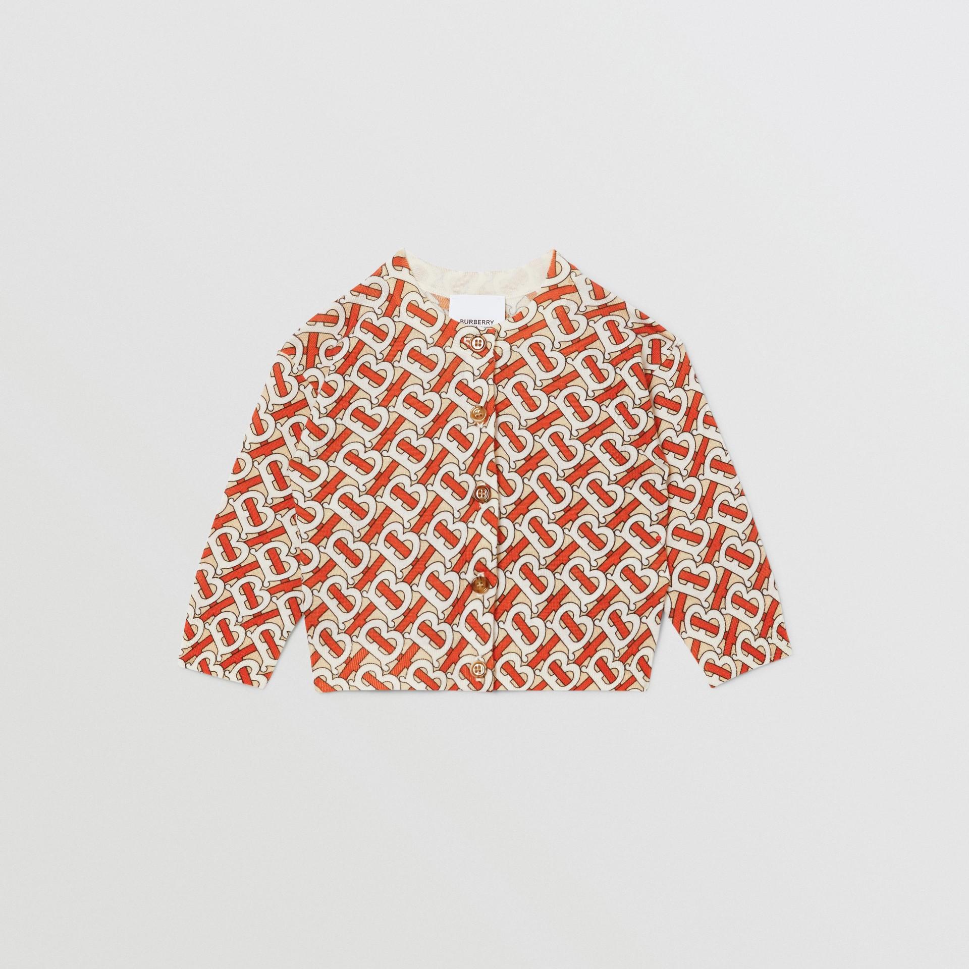 Monogram Print Merino Wool Two-piece Set in Vermilion - Children | Burberry - gallery image 0