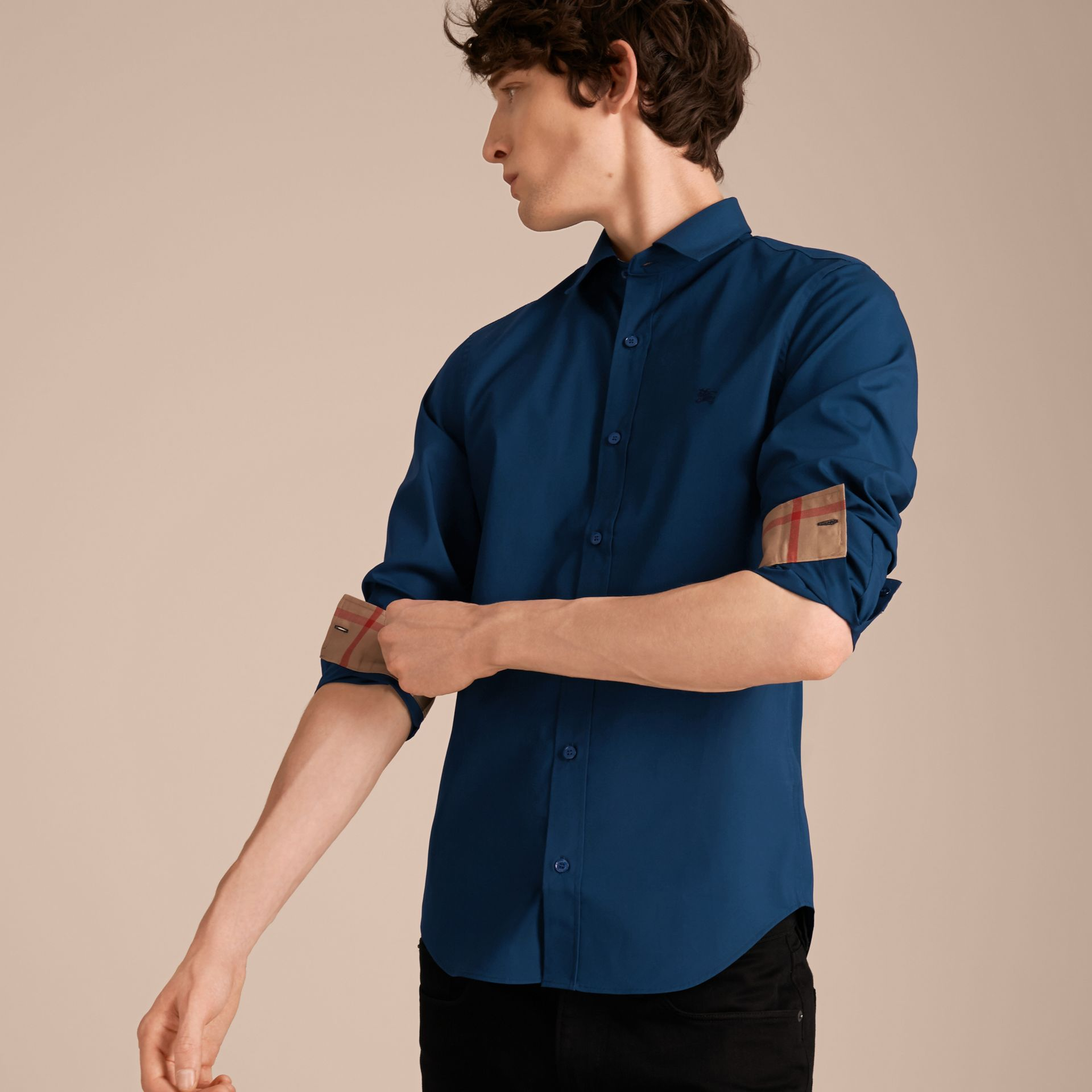 Check Detail Stretch Cotton Poplin Shirt in Deep Teal Blue - Men | Burberry - gallery image 6