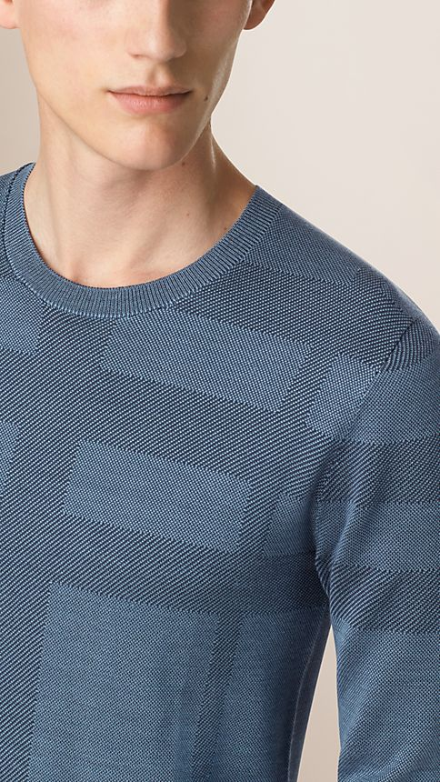 Dark slate blue Check Crew Neck Silk Sweater - Image 3