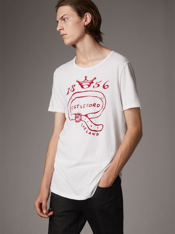 Castleford Print Cotton T-shirt in White