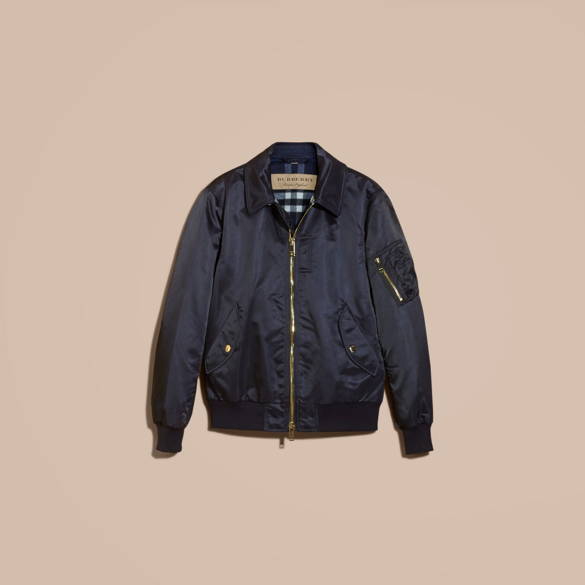Navy Satin Bomber Jacket with Check Undercollar Navy - gallery image 4