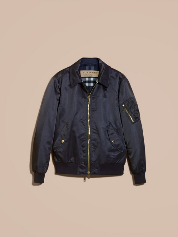 Satin Bomber Jacket with Check Undercollar Navy - cell image 3
