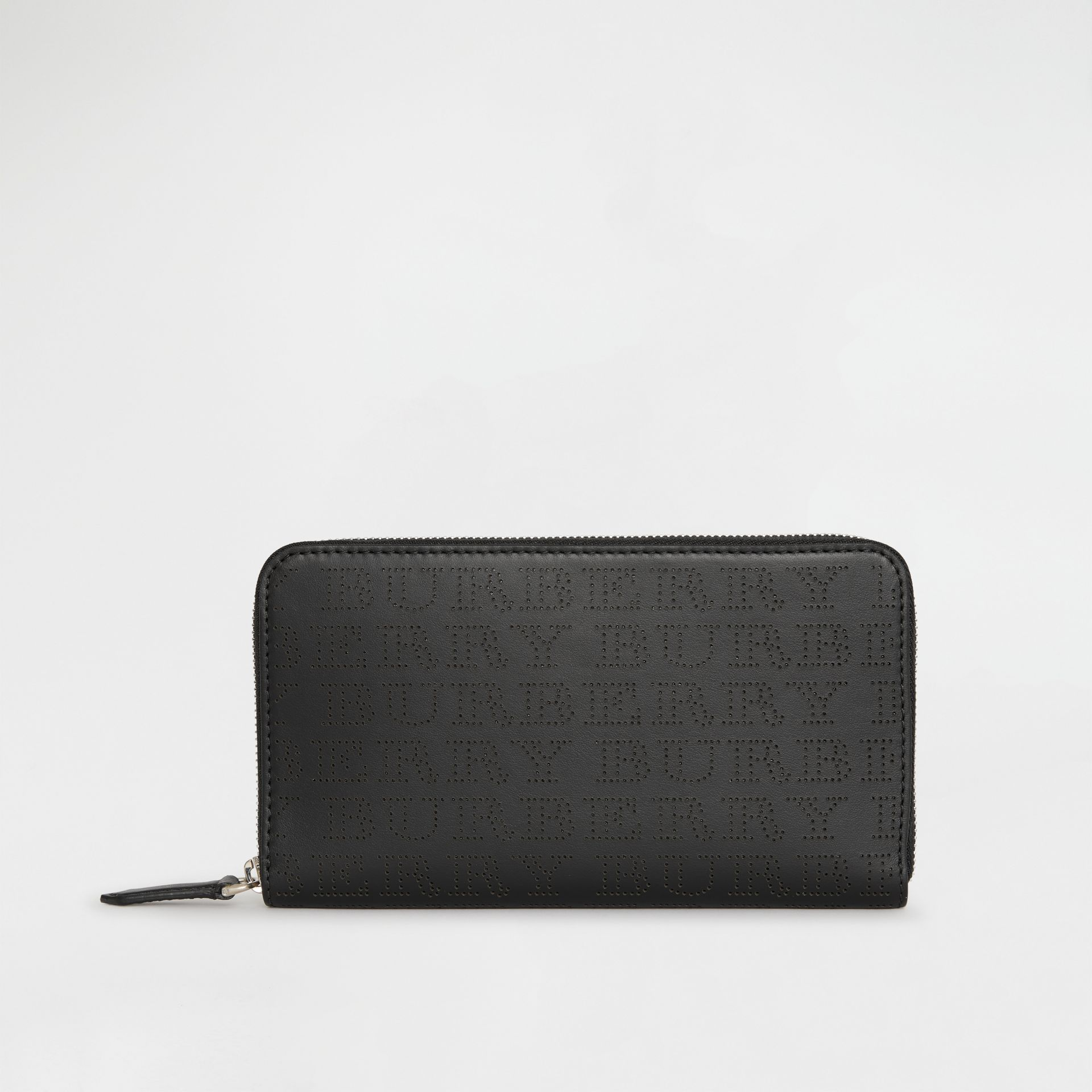 Perforated Logo Leather Ziparound Wallet in Black | Burberry Australia - gallery image 2