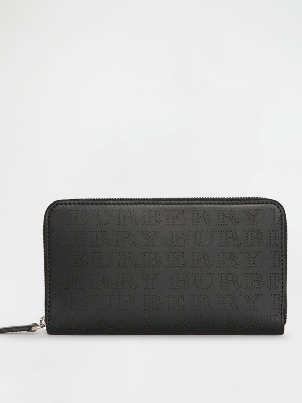 Perforated Logo Leather Ziparound Wallet in Black | Burberry Australia - cell image 2