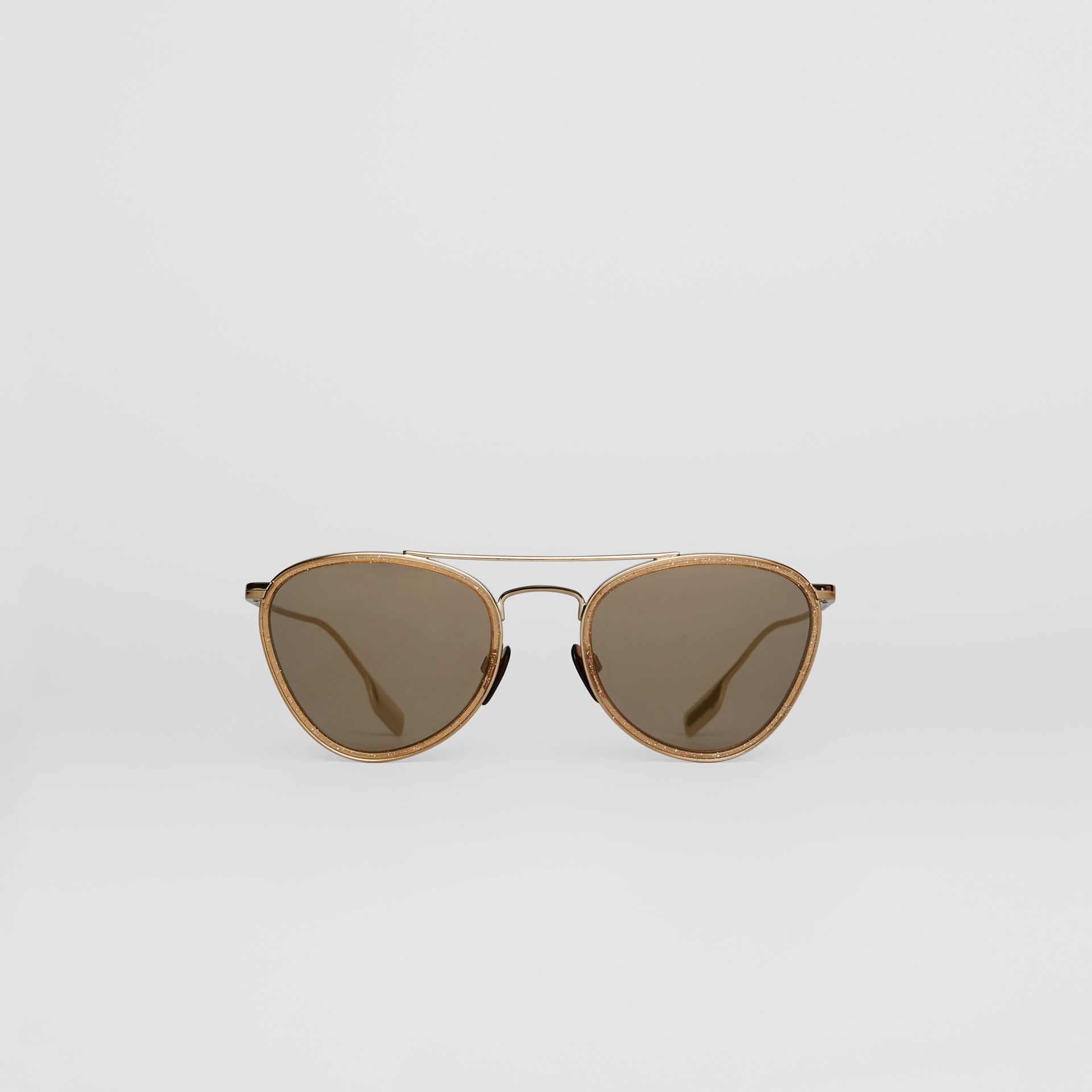 Glitter Detail Pilot Sunglasses in Gold - Women | Burberry - gallery image 0