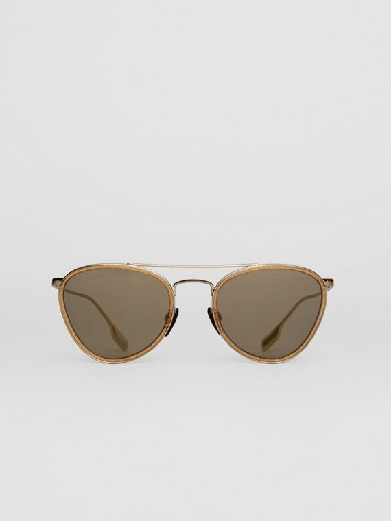 Glitter Detail Pilot Sunglasses in Gold