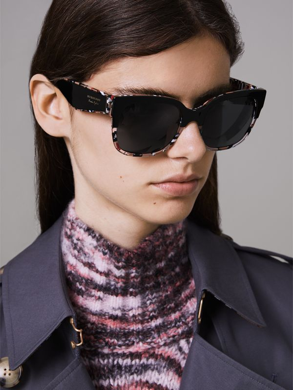 Patchwork Check Oversize Square Frame Sunglasses in Black - Women | Burberry United Kingdom - cell image 2