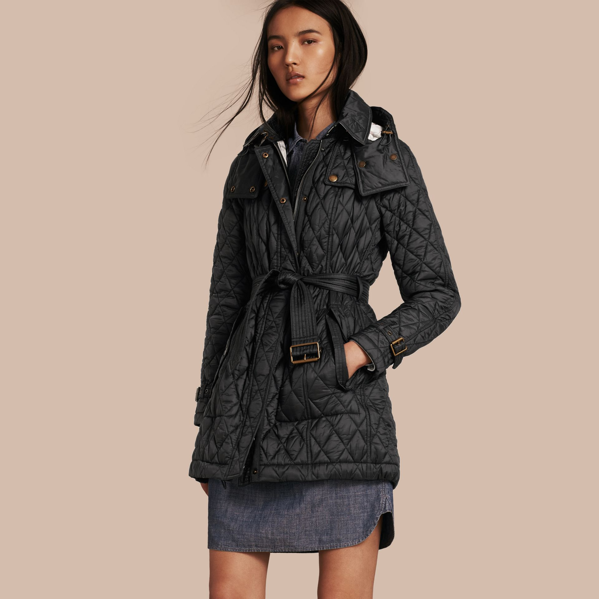 Diamond Quilted Coat Black - gallery image 1