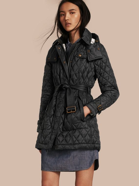 Diamond Quilted Coat Black