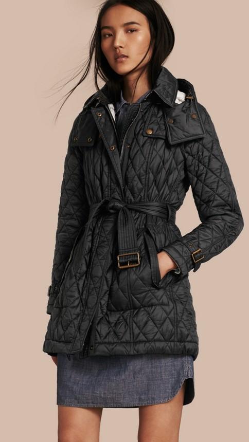 Black Diamond Quilted Coat Black - Image 1