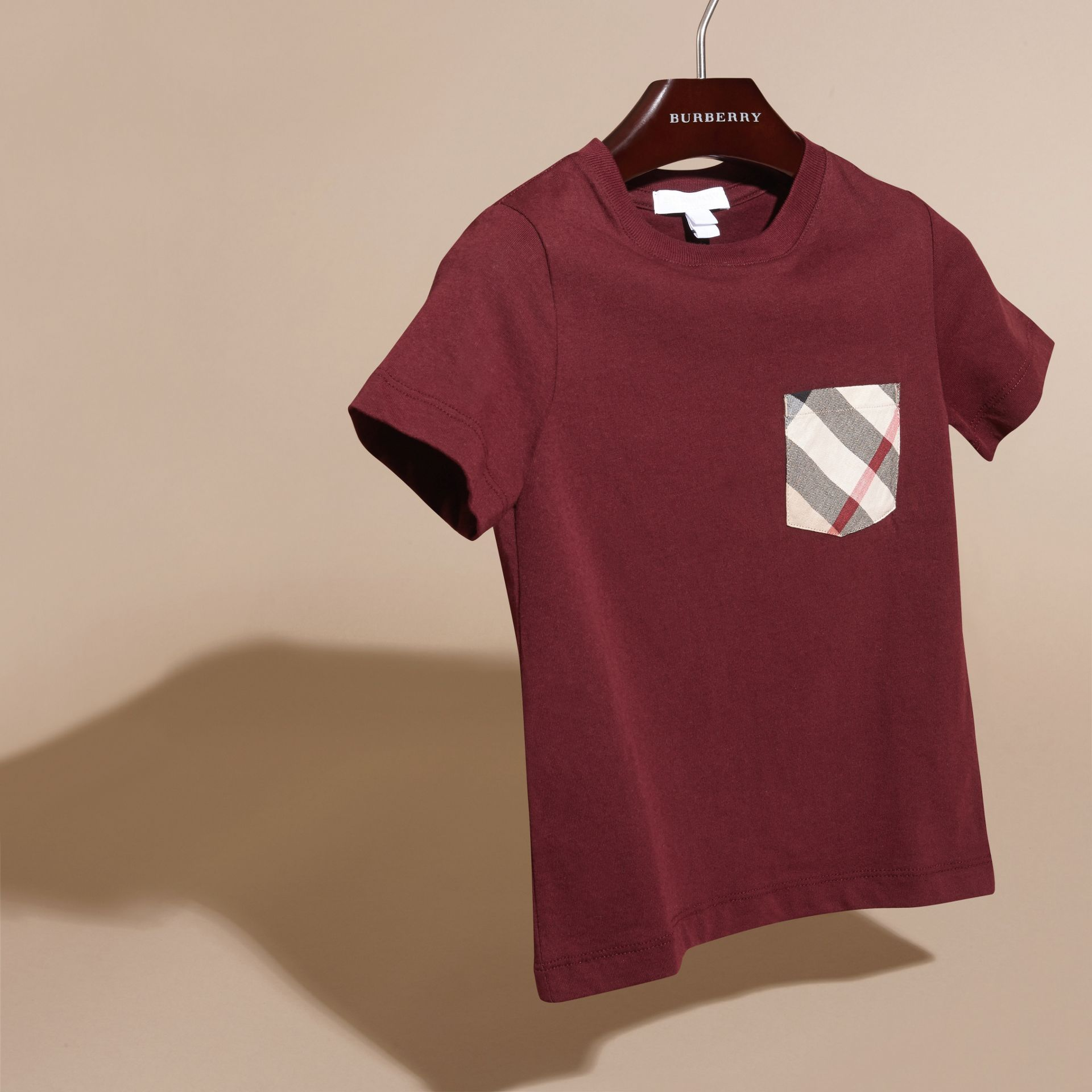 Burgundy red Check Pocket T-Shirt Burgundy Red - gallery image 3