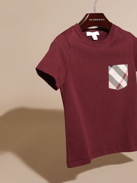 Burgundy red Check Pocket T-Shirt Burgundy Red - cell image 2