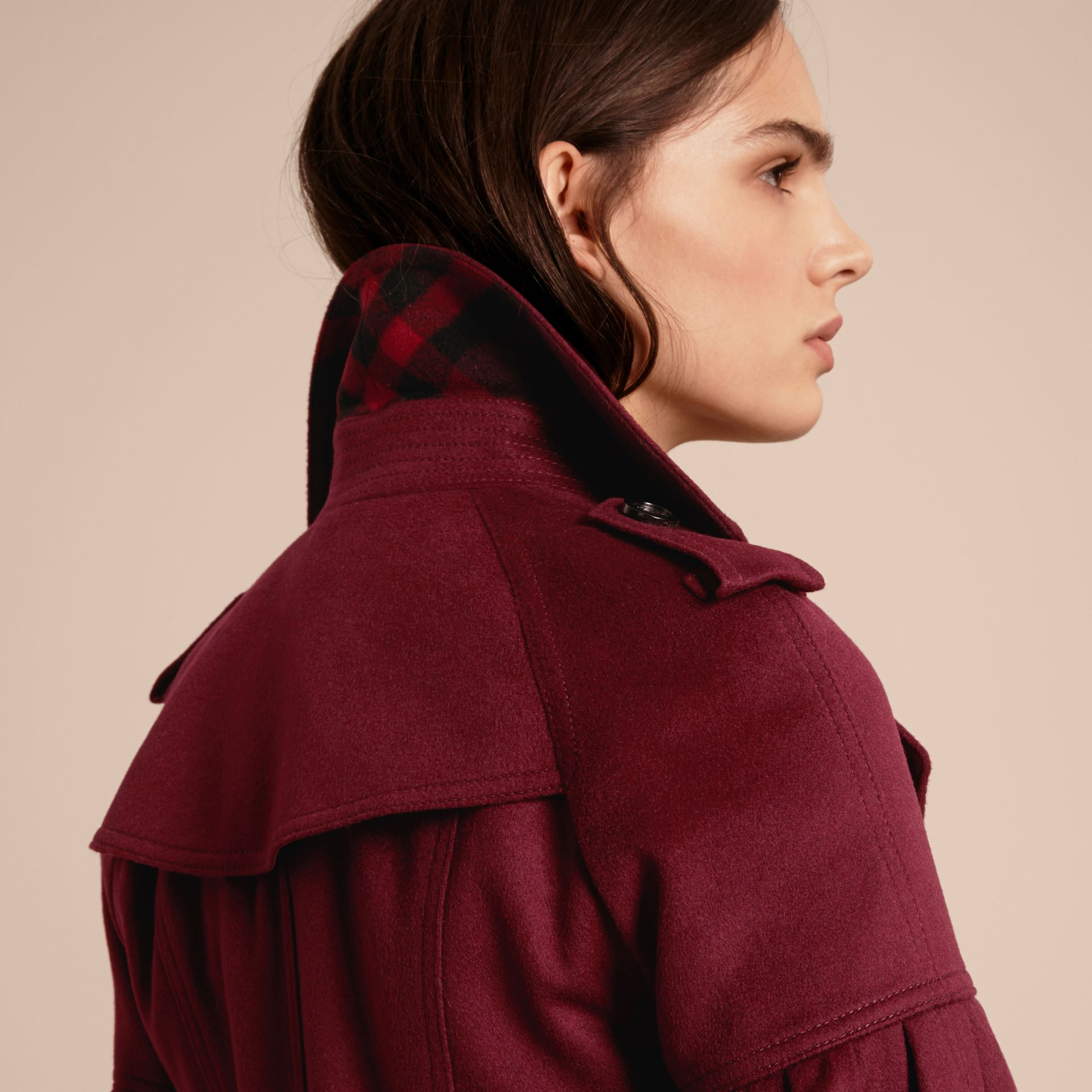 Burgundy Cashmere Trench Coat with Puff Sleeves Burgundy - gallery image 6