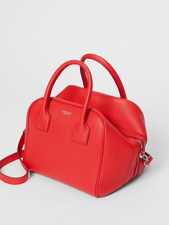 Small Leather Cube Bag in Bright Red
