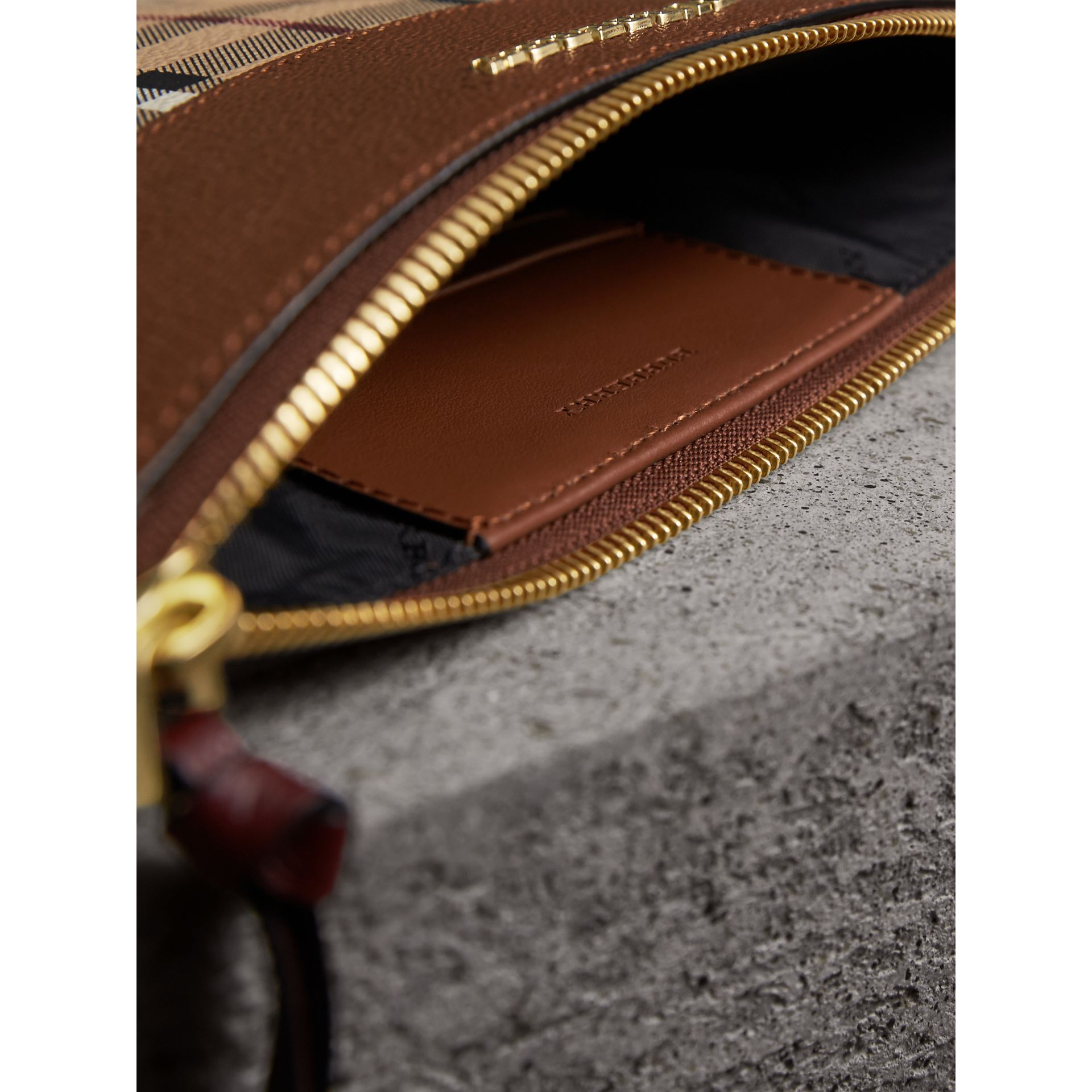 Haymarket Check and Two-tone Leather Clutch Bag in Bright Toffee/ Multicolour - Women | Burberry Australia - gallery image 6