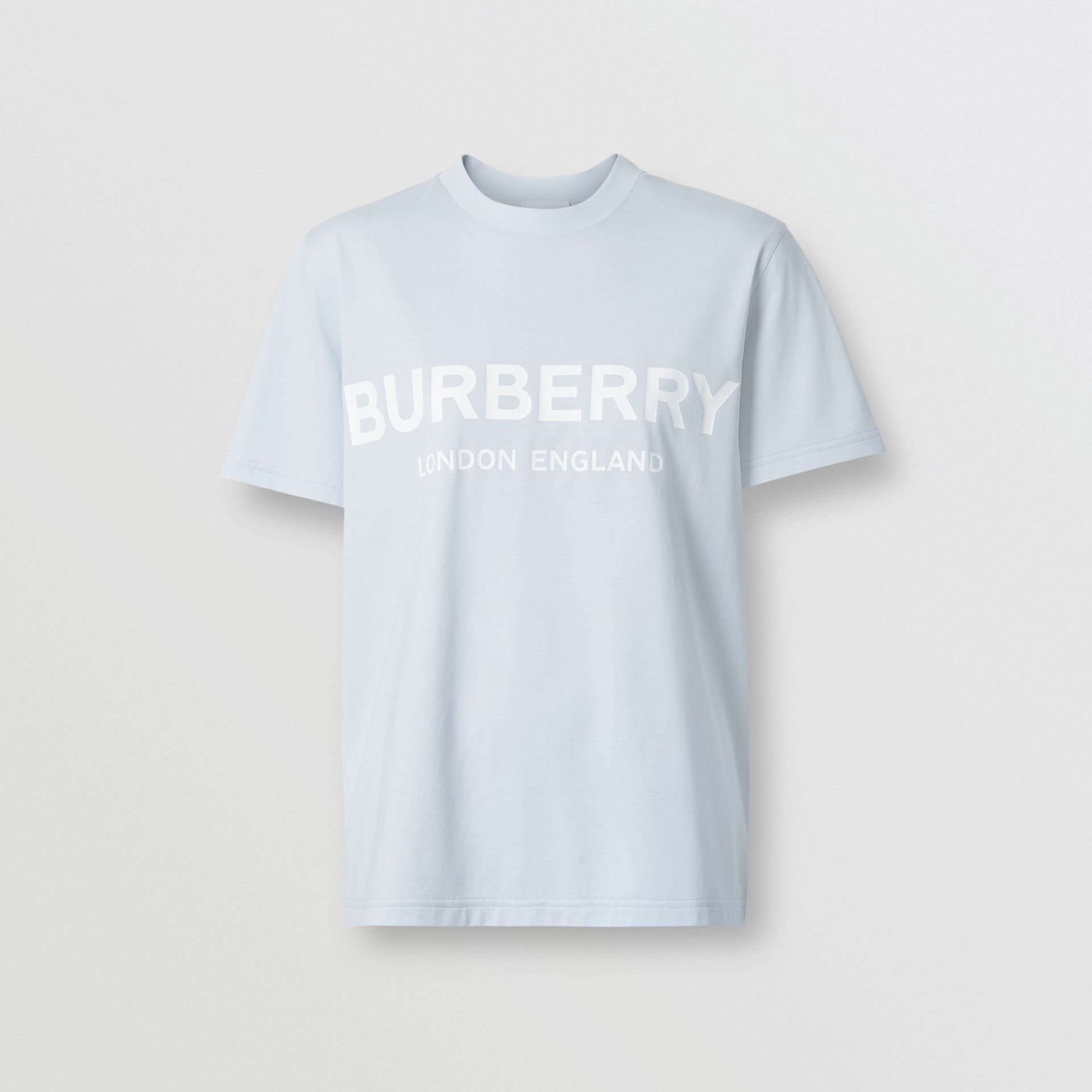 Logo Print Cotton T-shirt in Pale Blue - Women | Burberry - gallery image 3