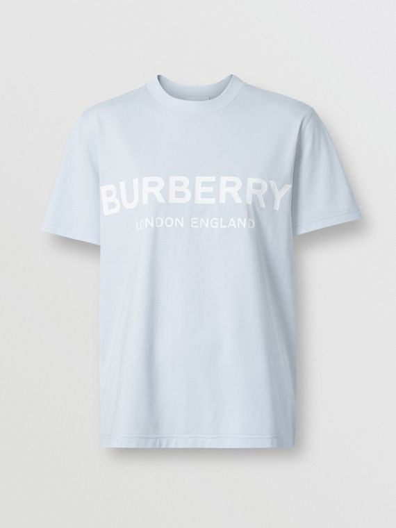Logo Print Cotton T-shirt in Pale Blue