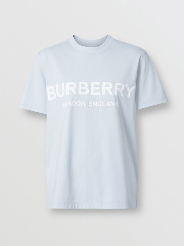 Logo Print Cotton T-shirt in Pale Blue - Women | Burberry - cell image 3