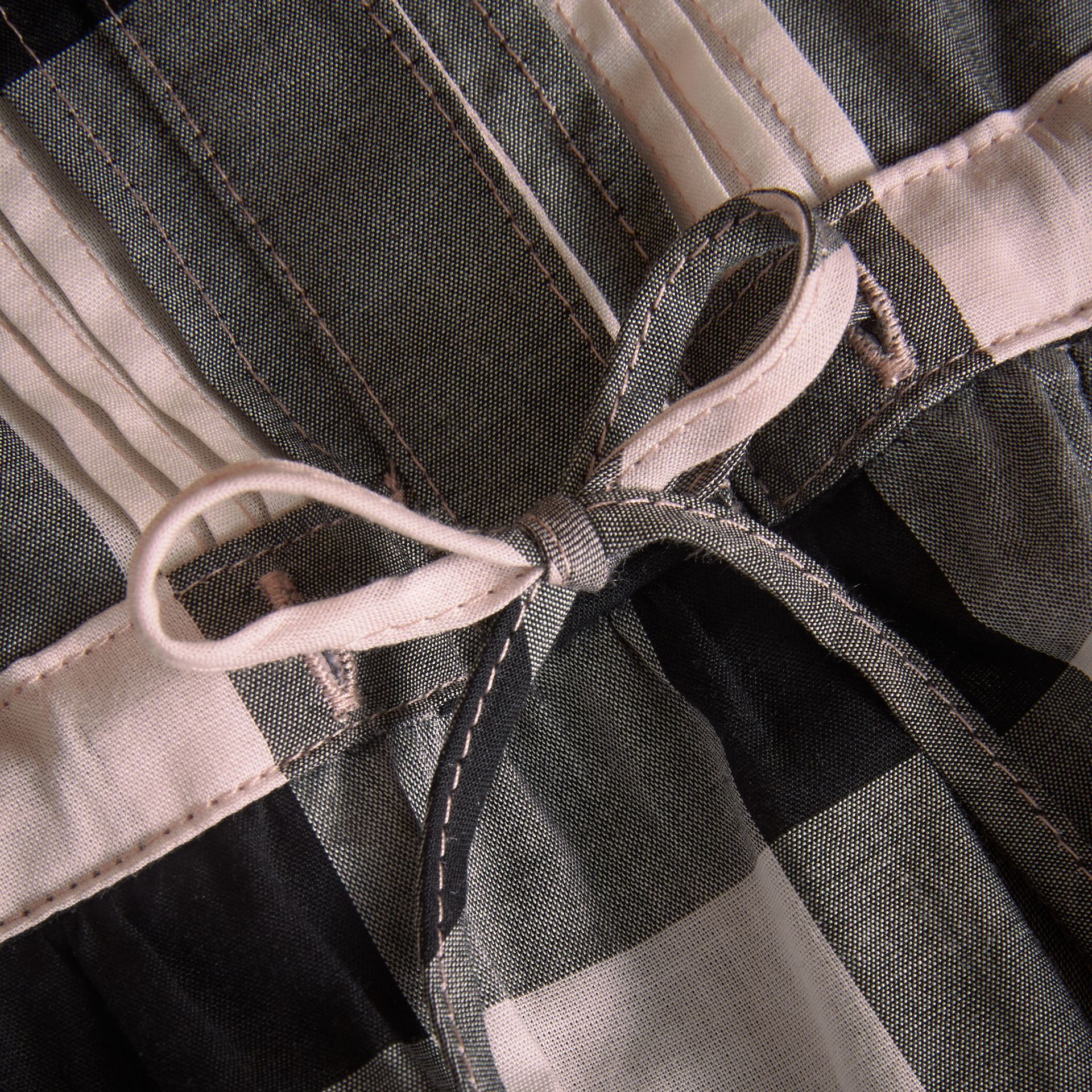 Collarless Check Drawcord Cotton Voile Dress in Vintage Pink - Girl | Burberry Australia - gallery image 2