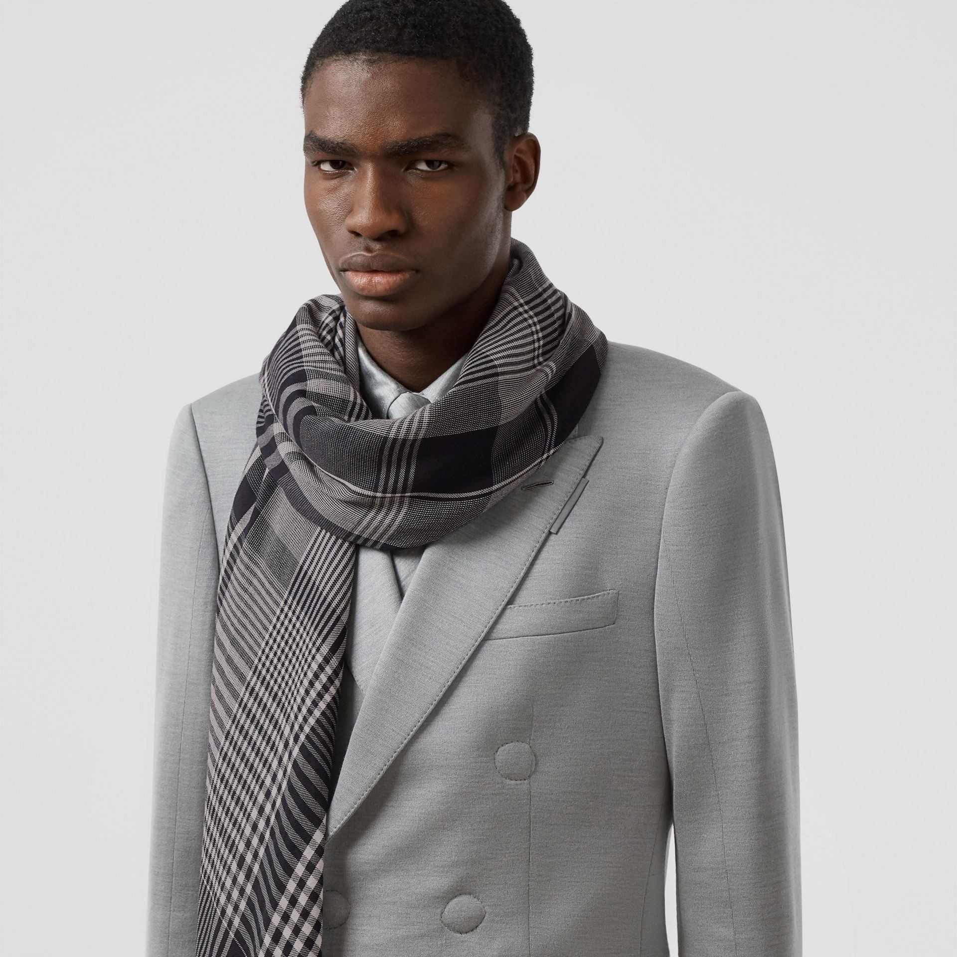 Logo Embroidered Lightweight Check Cashmere Scarf in Black/white | Burberry - gallery image 3