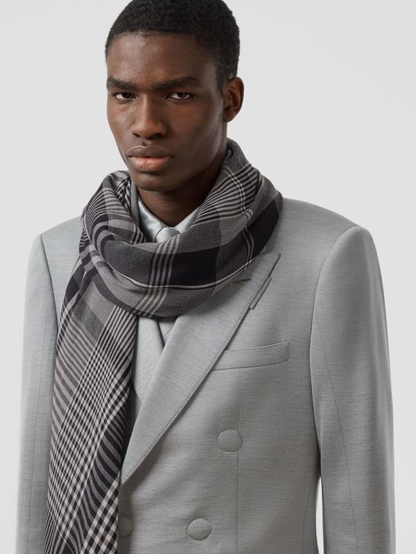 Logo Embroidered Lightweight Check Cashmere Scarf in Black/white | Burberry - cell image 3