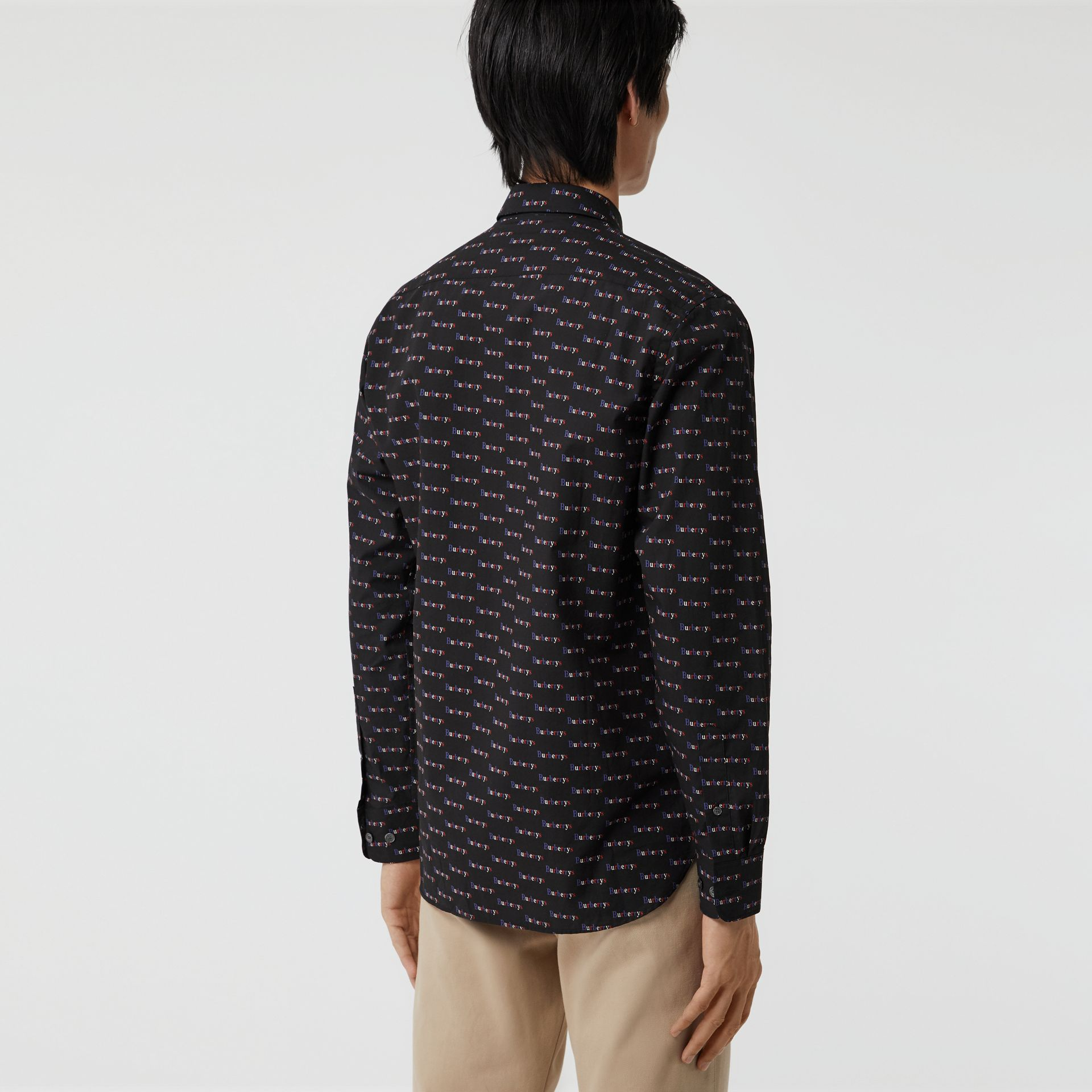 Logo Print Cotton Shirt in Black - Men | Burberry - gallery image 2