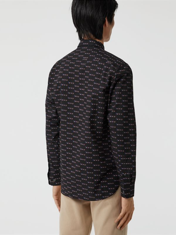 Logo Print Cotton Shirt in Black - Men | Burberry - cell image 2