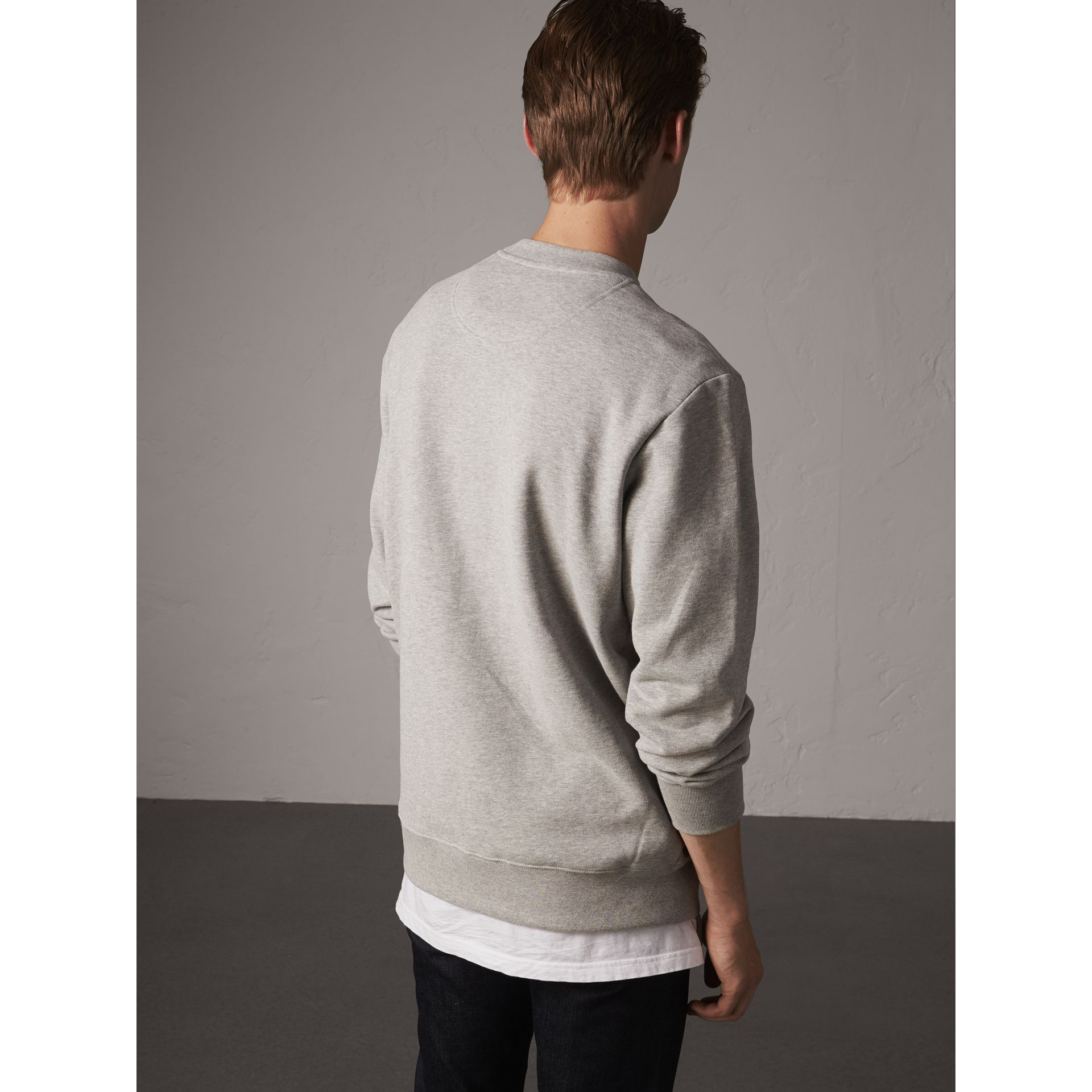 Unisex Beasts Leather Appliqué Cotton Sweatshirt in Pale Grey Melange - Men | Burberry - gallery image 3