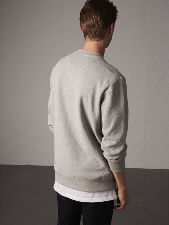 Unisex Beasts Leather Appliqué Cotton Sweatshirt in Pale Grey Melange - Men | Burberry Canada - cell image 2