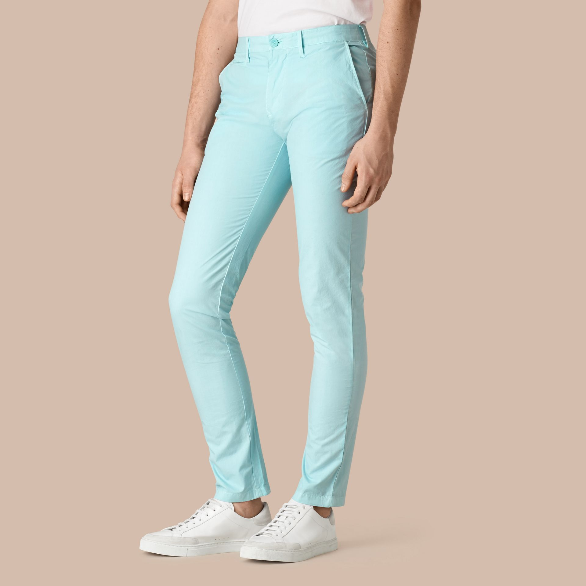 Pearl blue Slim Fit Cotton Poplin Chinos Pearl Blue - gallery image 1