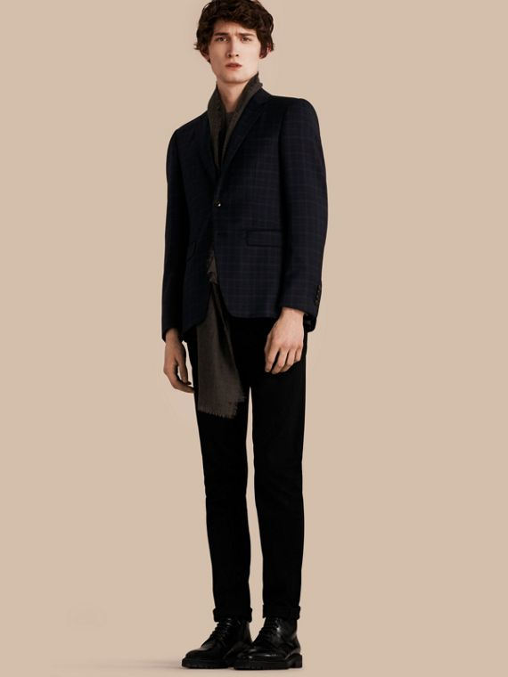Slim Fit Check Wool Tailored Jacket