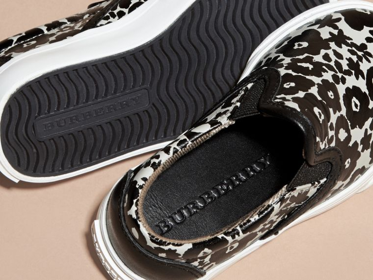 Black/white Floral Print Leather Slip-on Trainers - cell image 1