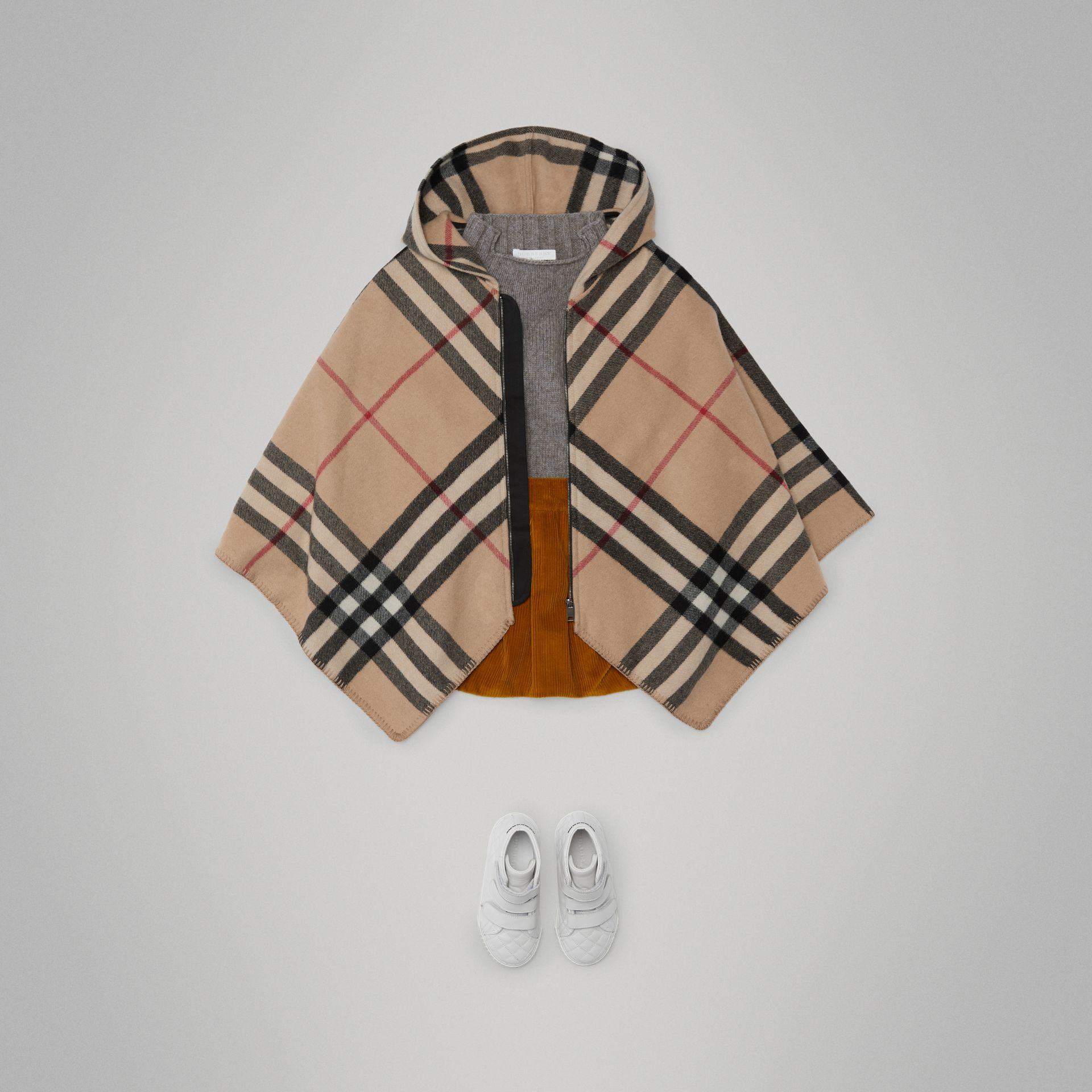 Check Wool Cashmere Hooded Poncho in New Classic | Burberry Hong Kong - gallery image 2