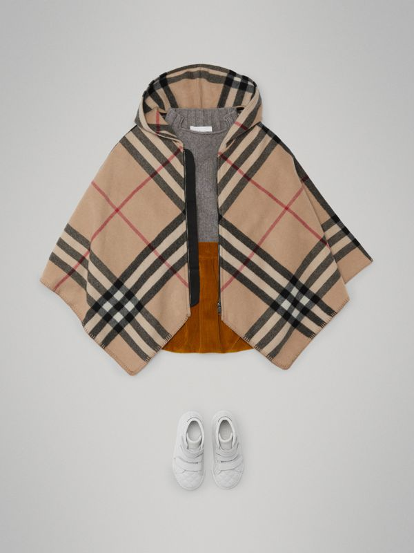 Check Wool Cashmere Hooded Poncho in New Classic | Burberry - cell image 2