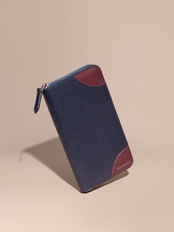 Contrast Corner London Leather Ziparound Wallet Dark Navy