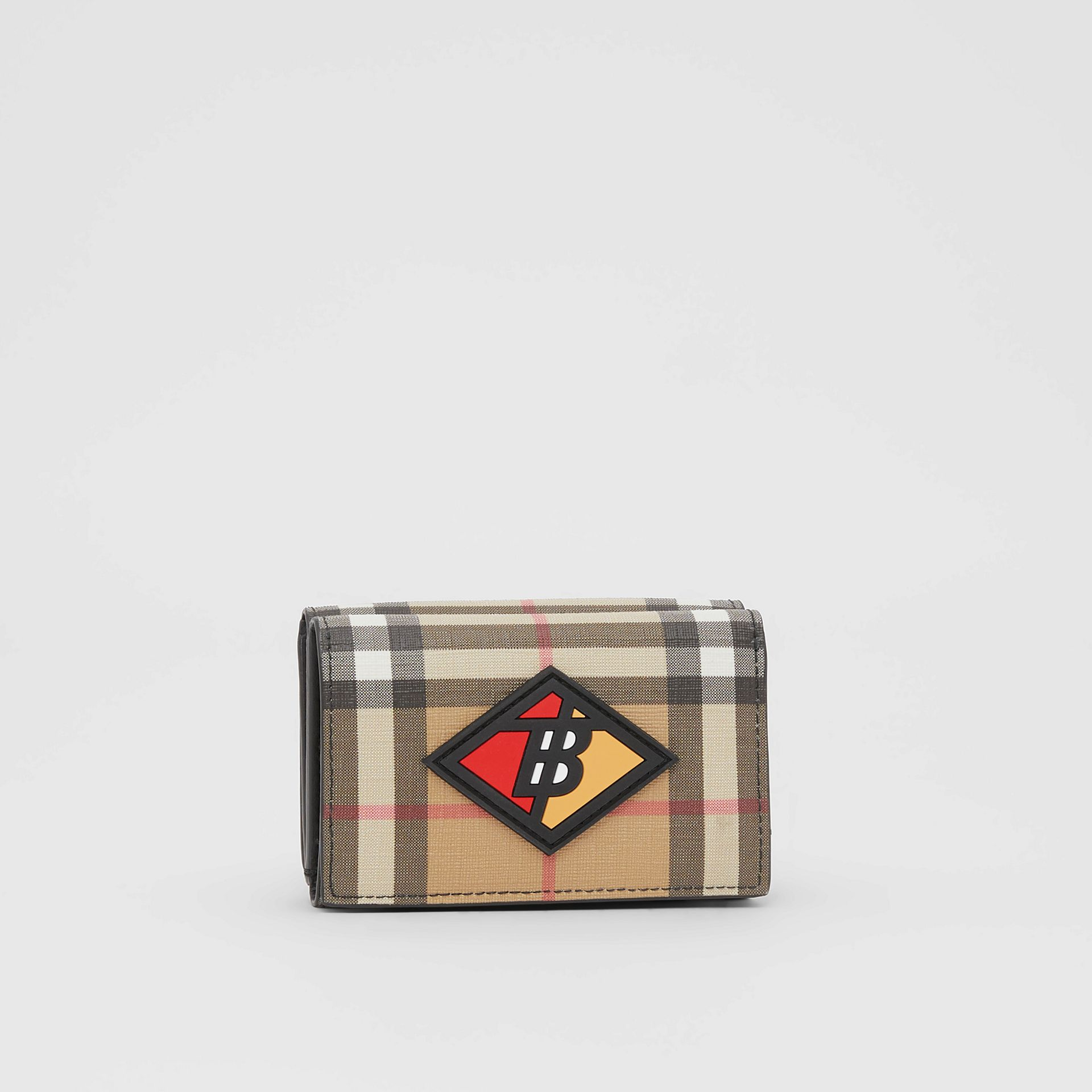 Small Logo Graphic Vintage Check Folding Wallet in Archive Beige - Women | Burberry Australia - gallery image 3