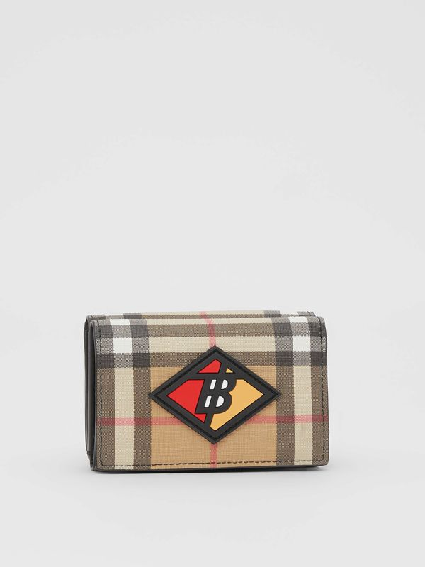 Small Logo Graphic Vintage Check Folding Wallet in Archive Beige - Women | Burberry - cell image 3