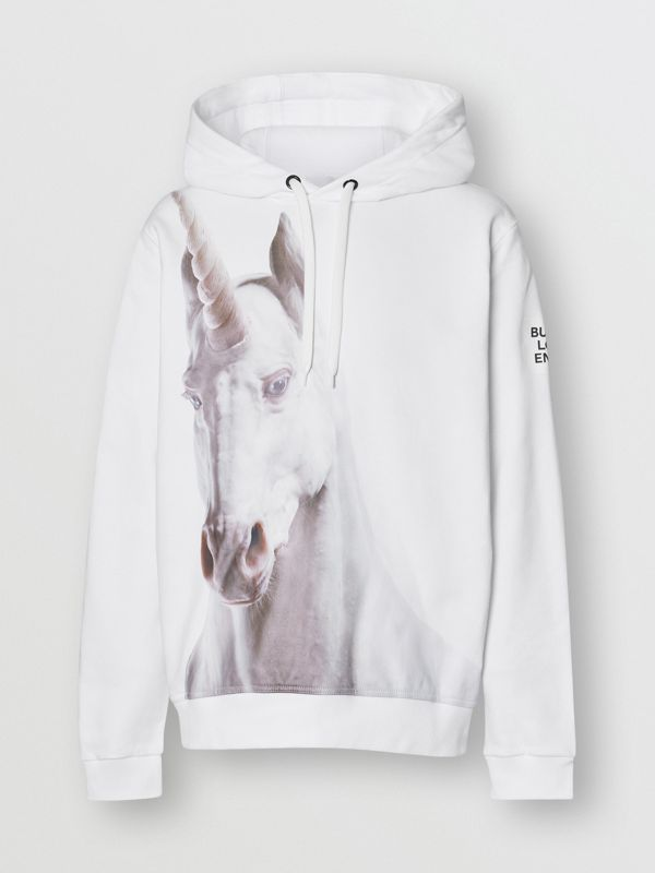 Unicorn Print Cotton Hoodie in White - Men | Burberry - cell image 3