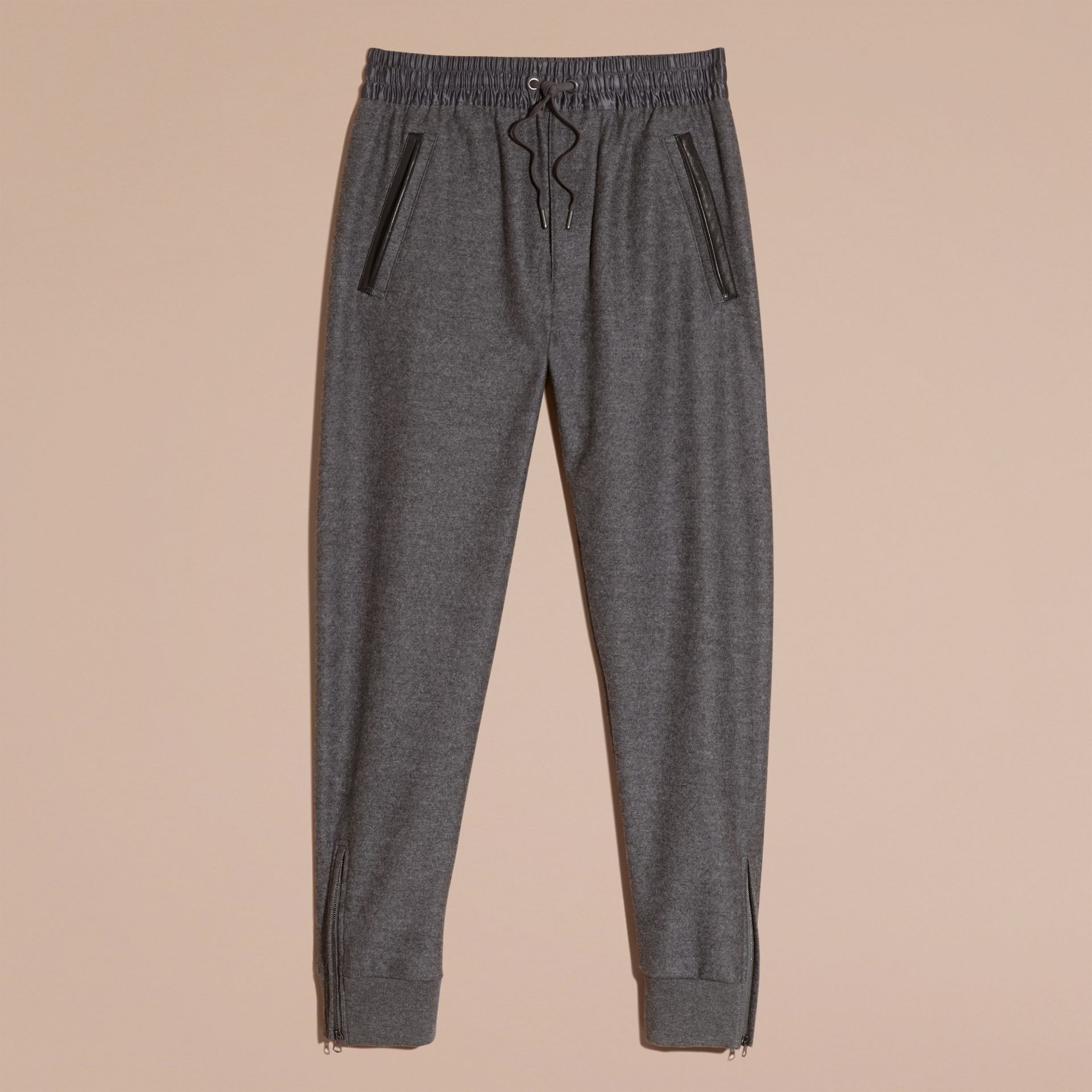 Mid grey melange Leather-trimmed Technical Wool Sweat Pants - gallery image 4