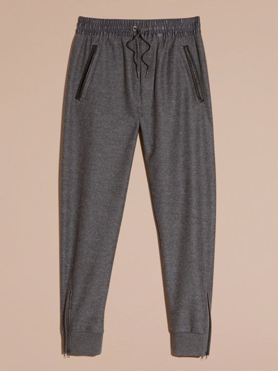 Mid grey melange Leather-trimmed Technical Wool Sweat Pants - cell image 3