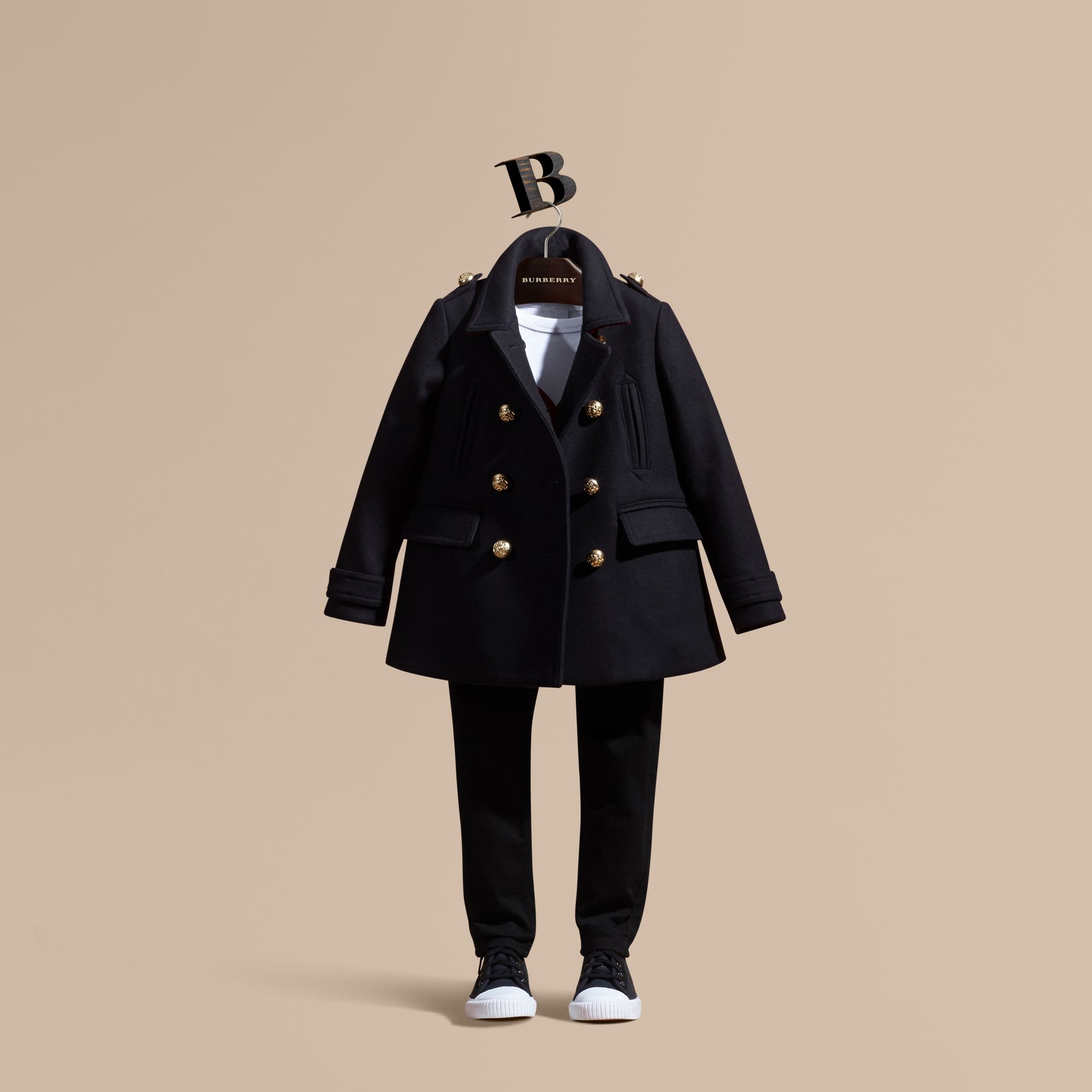 Navy Wool Cashmere Blend Military Pea Coat - gallery image 1