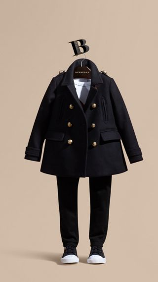 Wool Cashmere Blend Military Pea Coat