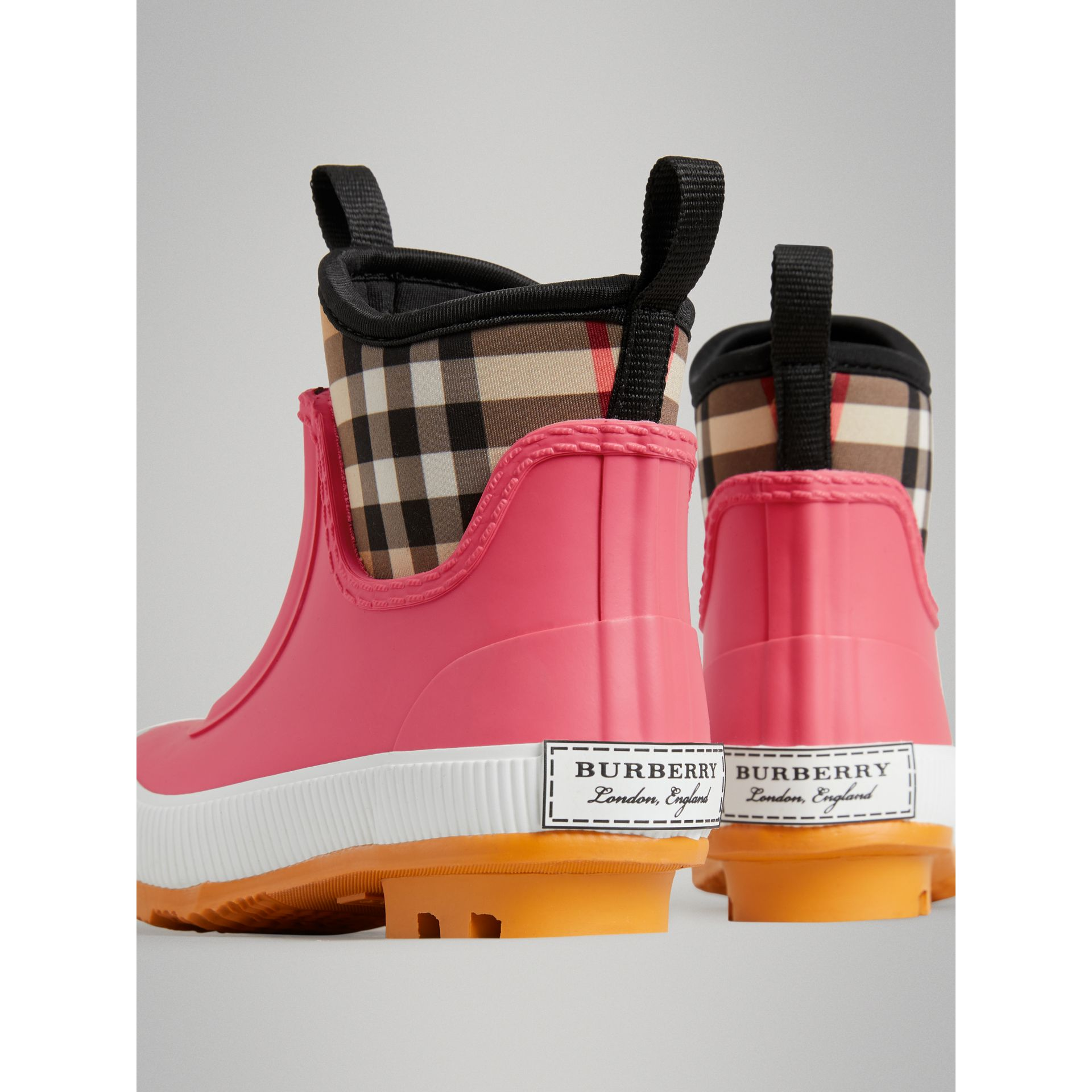 Vintage Check Neoprene and Rubber Rain Boots in Pink Azalea | Burberry Australia - gallery image 2