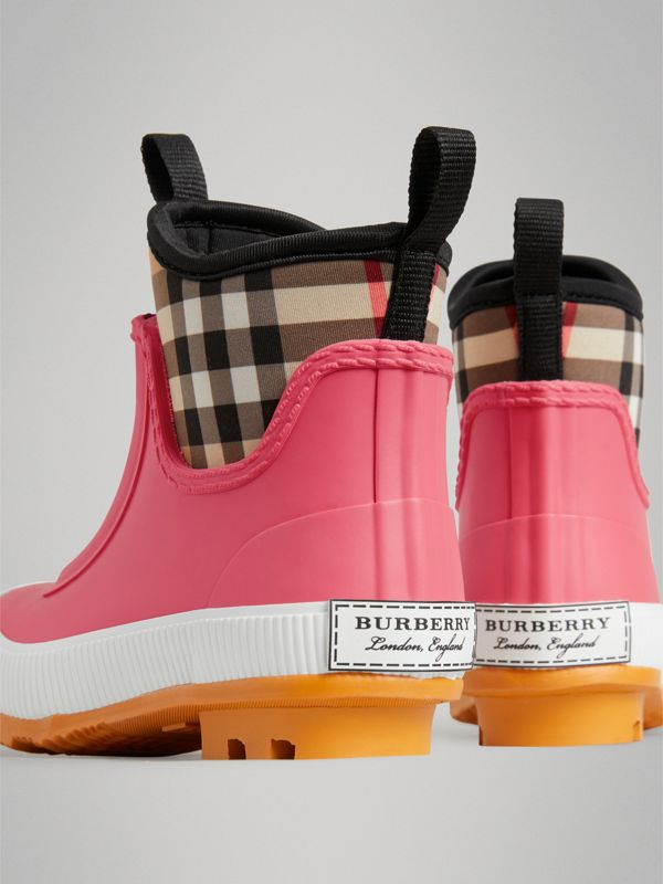 Vintage Check Neoprene and Rubber Rain Boots in Pink Azalea | Burberry Australia - cell image 2