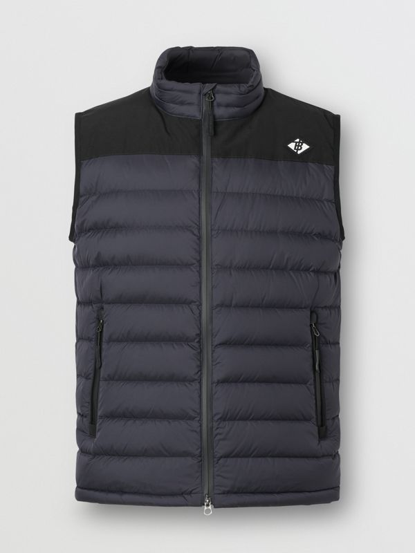 Logo Graphic Puffer Gilet in Navy - Men | Burberry - cell image 3
