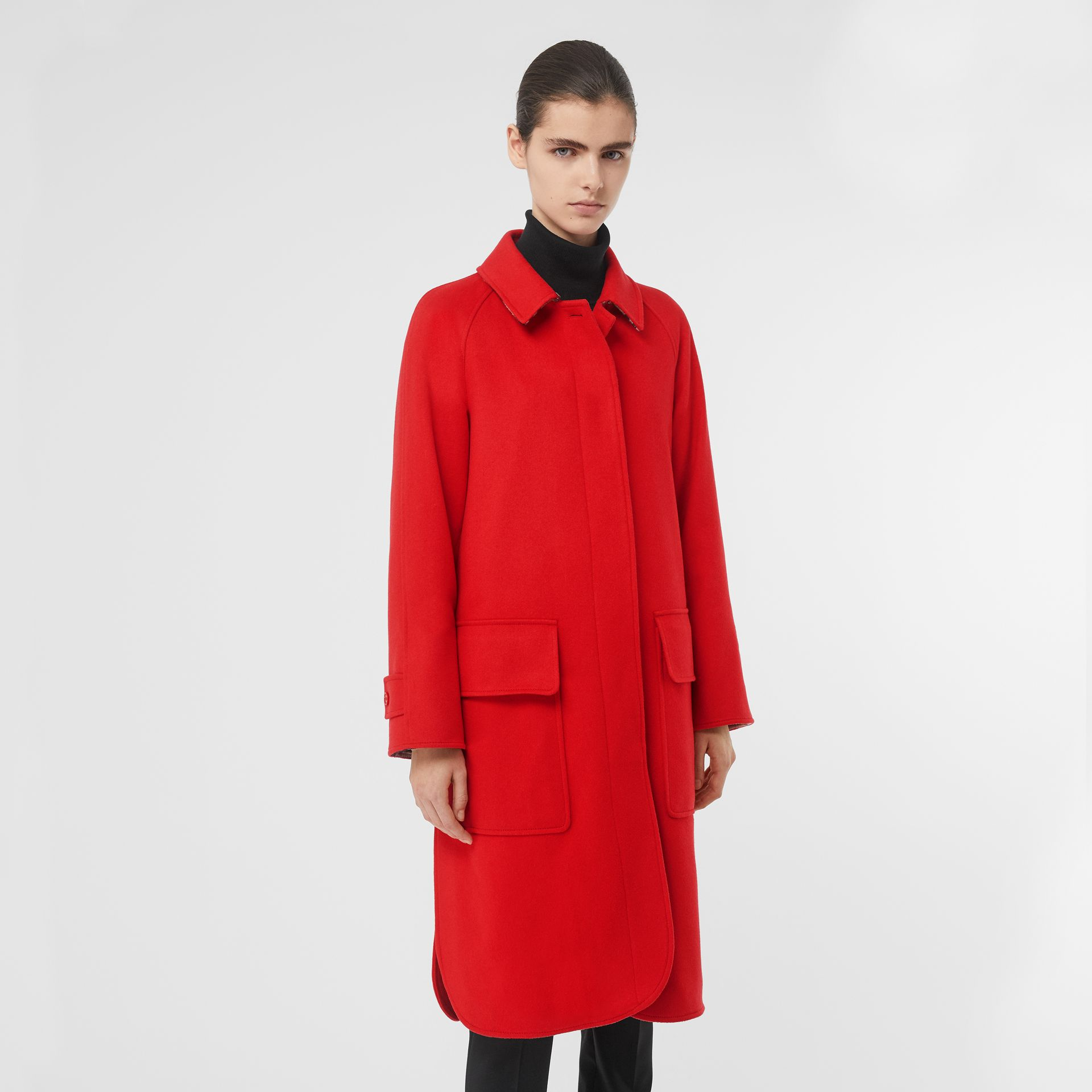 Cashmere Car Coat in Bright Red - Women | Burberry United Kingdom - gallery image 6
