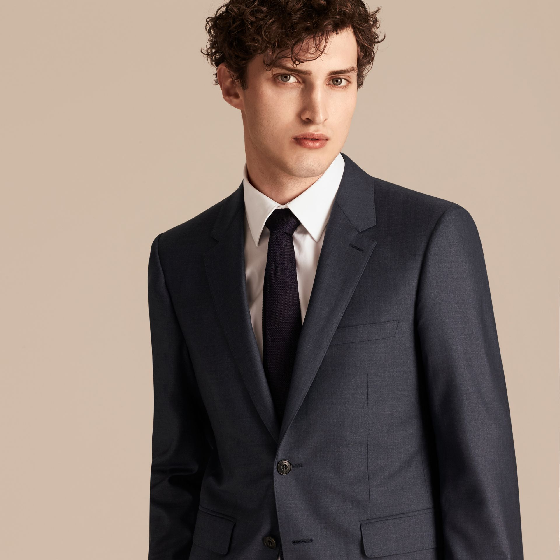 Dark pewter blue Modern Fit Wool Silk Half-canvas Suit - gallery image 5