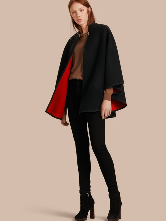 Wool Cashmere Military Poncho Black/parade Red